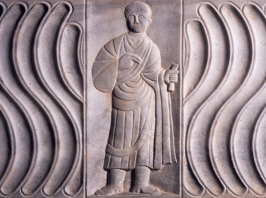 Relieve de una tumba (siglo III d.C.) procedente de la necrópolis paleocristiana. Museo Nacional Arqueológico de Tarragona.  (Imagen M.A.S.)