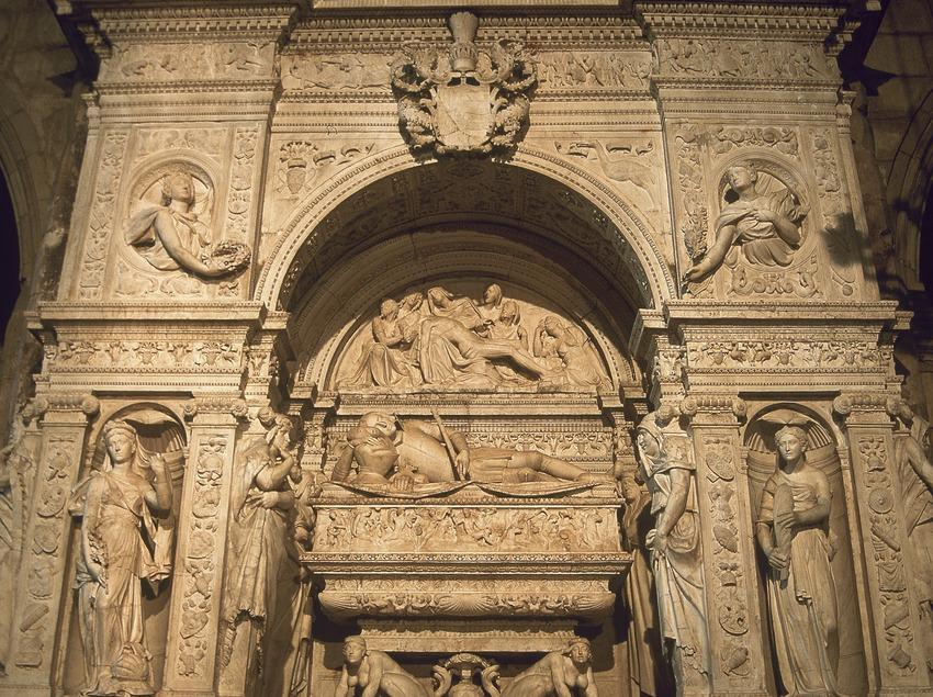 Mausoleu de Ramon Folch de Cardona-Anglesola (1525). Giovanni Merliano de Nola. Església de Sant Nicolau  (Servicios Editoriales Georama)