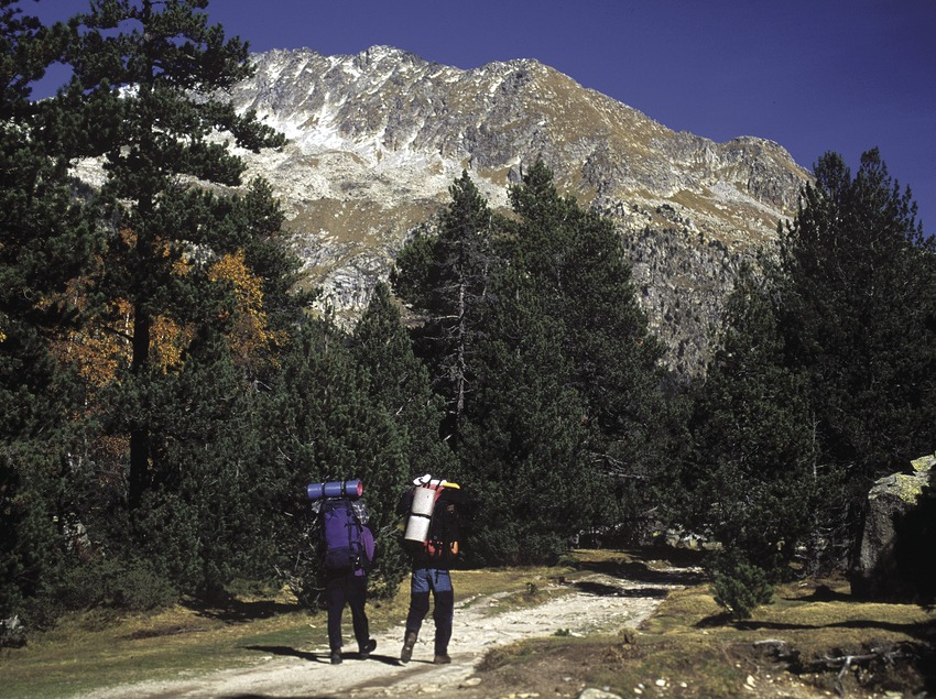 Hikers on the track to the Llong lake in the Aigüestortes i Estany de Sant Maurici National Park.