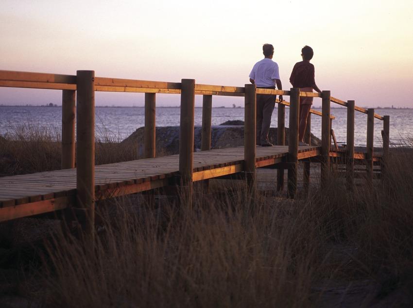 Der Strand de la Marquesaim Naturpark Delta de l'Ebre.
