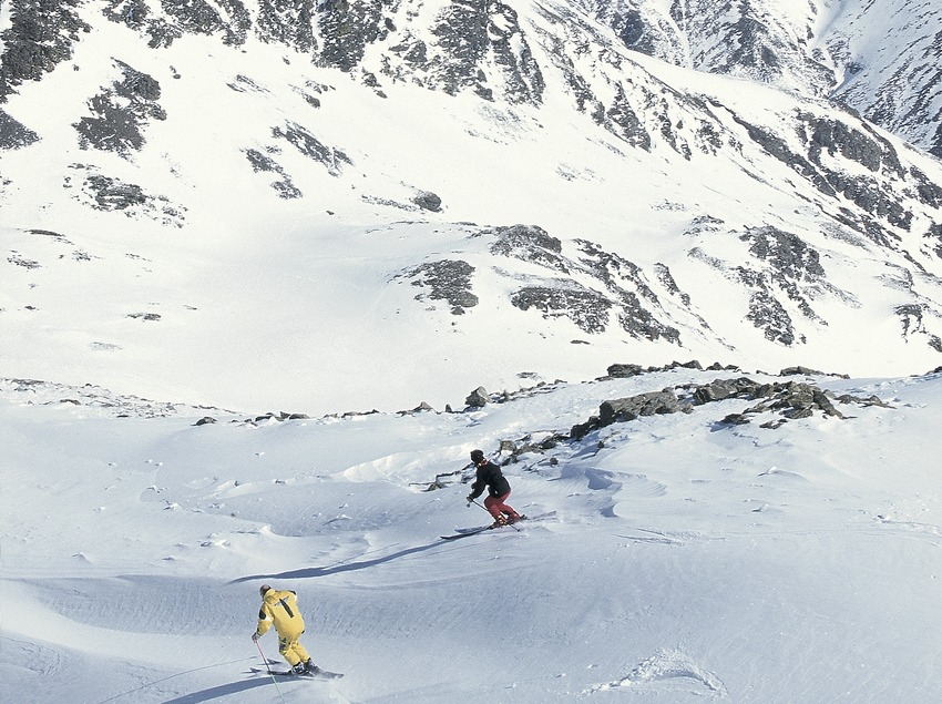 Off piste skiing Descent of Puigmal.