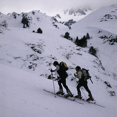 Skiers in the Tavascan Ski Resort