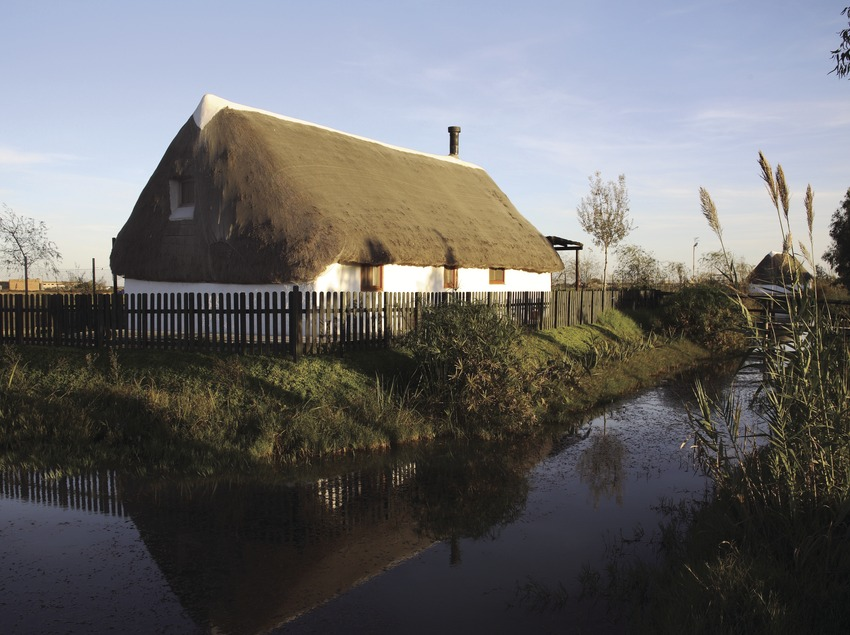 Zu einer ländlichen Unterkunft umgebaute Baracke im Naturpark Delta de l'Ebre