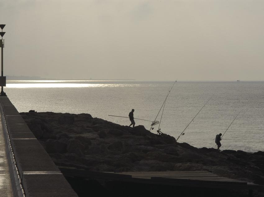 Fishermen on the breakwater of Torredembarra port  (Marc Ripol)