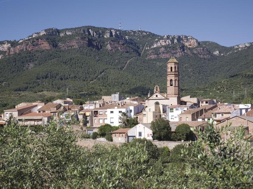 Blick auf den Ort und die Sierra de Mussara in den Bergen von Prades  (Miguel Raurich)