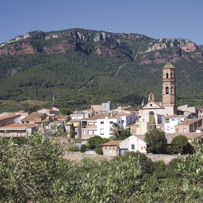 View of the town and Sierra de Mussara, in the Prades mountains  (Miguel Raurich)
