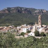 Vue de la localité et la sierra de Mussara, dans les montagnes de Prades  (Miguel Raurich)