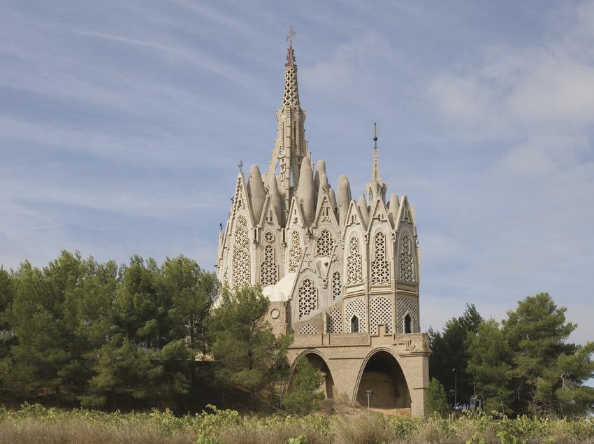 Sanctuary of the Mare de Déu de Montserrat and vineyards.