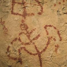 Reproducció d'una pintura rupestre en el Centre d'Interpretació de l'Art Rupestre (CIAR)