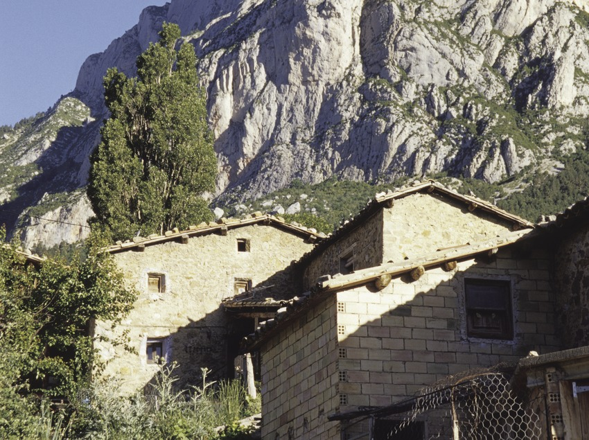 Pedraforca, mountain village Saldes, border to the province Lleida, Barcelona, Catalunya