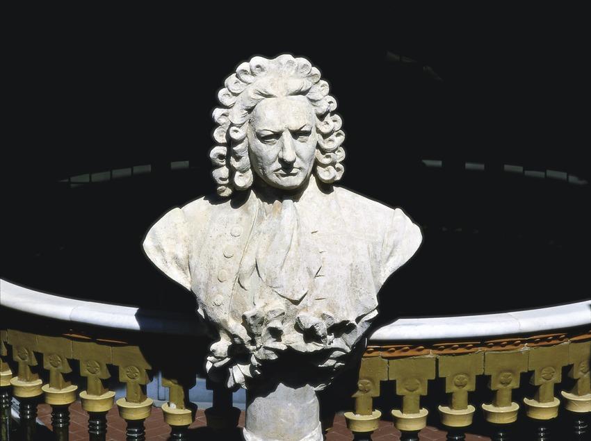 Busto de Johan Sebastian Bach en la fachada del Palau de la Música Catalana