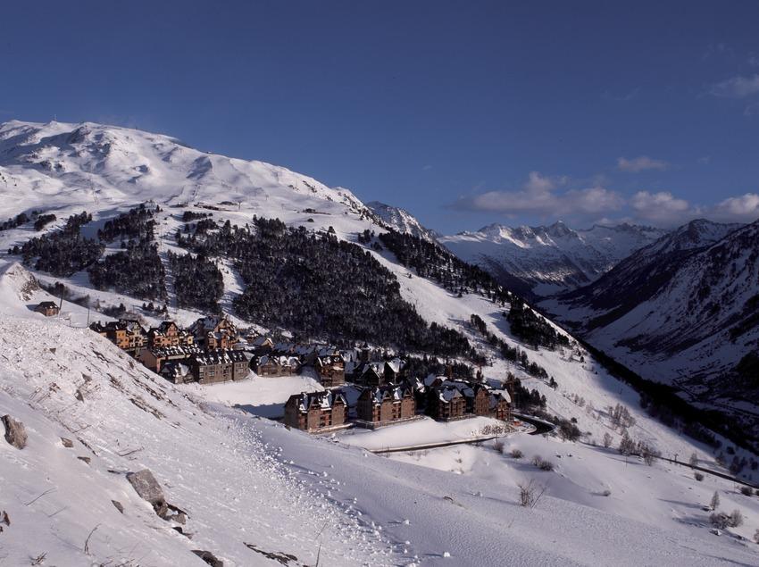 Val d'Aran. Aerial view of Beret, near the Baqueira Beret Alpine Ski Resort