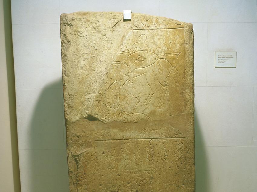Estela ibèrica amb genet i llances (segle II-I a.C.) procedent de Casp. Museu d'Arqueologia de Catalunya (Imagen M.A.S.)