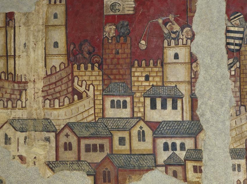 Pinturas murales de la Conquista de Mallorca (siglo XIII) procedentes del Palau Aguilar. Museu Nacional d'Art de Catalunya.  (Imagen M.A.S.)