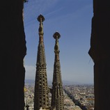 Aerial view of the central nave and towers of the basilica of the Sagrada Familia