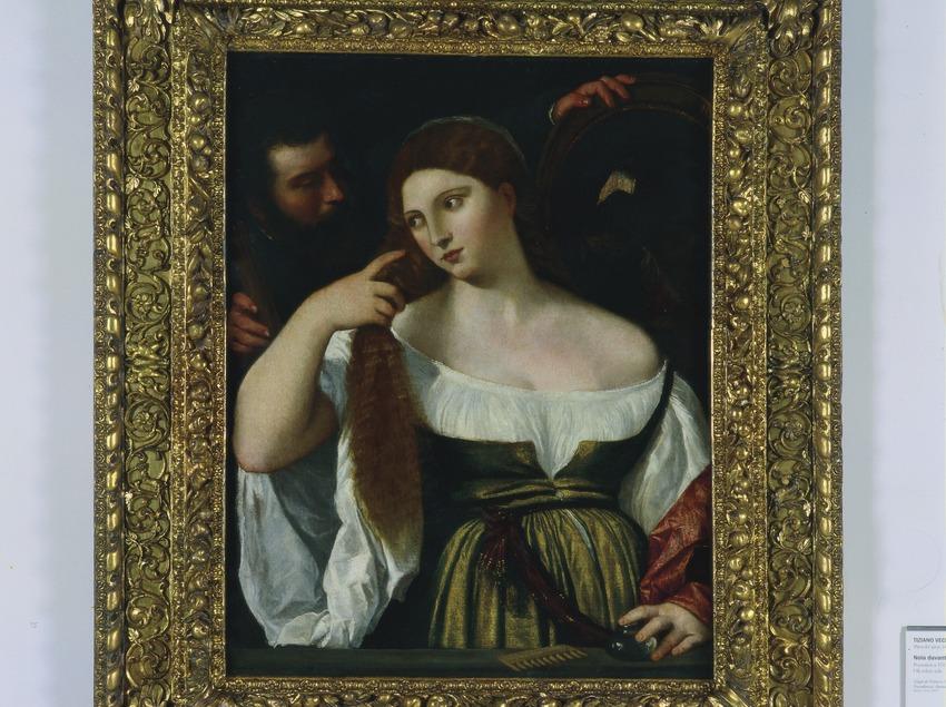"""""""Joven delante del espejo"""" (siglo XVI, de Tiziano Vecellio y taller. Museu Nacional d'Art de Catalunya.  (Imagen M.A.S.)"""
