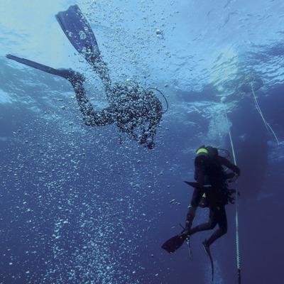 Submarinistes tornant a l'embarcació després de la immersió al fons marí de les Illes Formigues