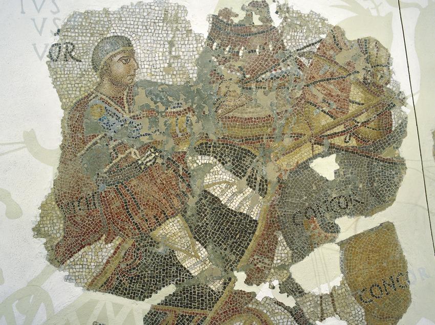 Quadriga, detall del mosaic del circ (segle IV d.C.). Museu d'Arqueologia de Catalunya (Imagen M.A.S.)