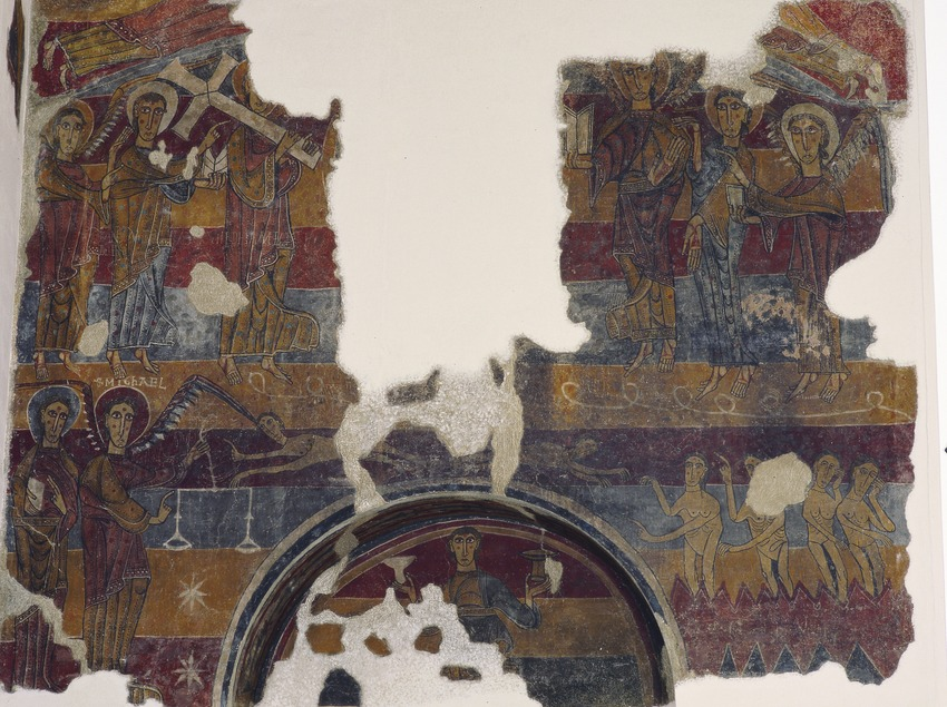 Pinturas murales del muro occidental de la iglesia de Santa María de Taüll (siglo XII). Museu Nacional d'Art de Catalunya.  (Imagen M.A.S.)