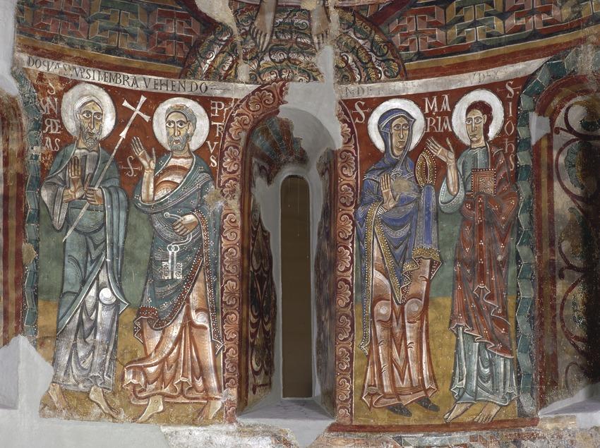 Fragment inferior de l'absis central de l'església de Sant Pere de la Seu d'Urgell (segle XII). Museu Nacional d'Art de Catalunya  (Imagen M.A.S.)