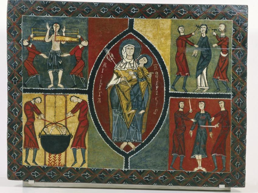 Frontal d'altar de Durro (segle XII) procedent de l'ermita de Sant Quirze i Santa Julita de Durro. Museu Nacional d'Art de Catalunya  (Imagen M.A.S.)