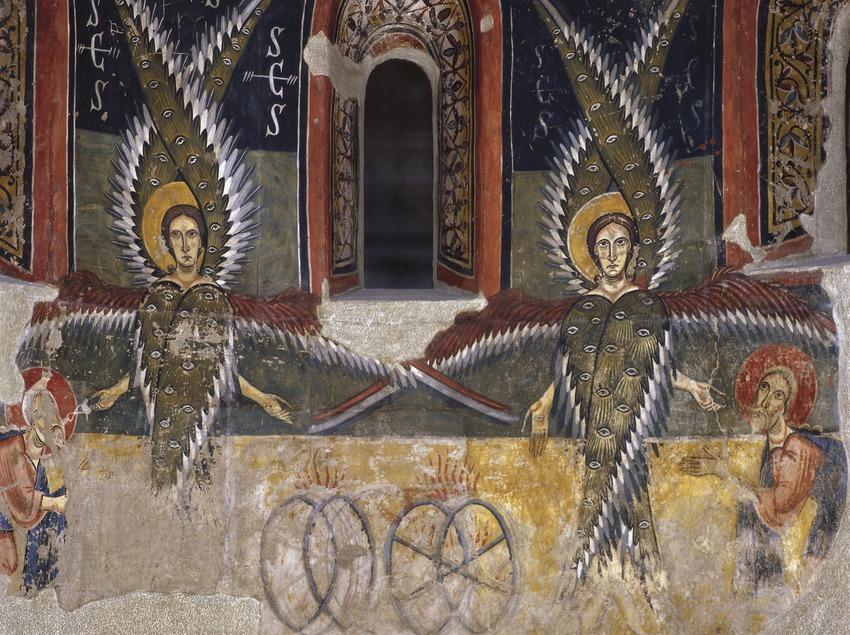 Fragment inferior de l'absis central de l'església de Santa Maria d'Àneu (segle XI). Museu Nacional d'Art de Catalunya  (Imagen M.A.S.)