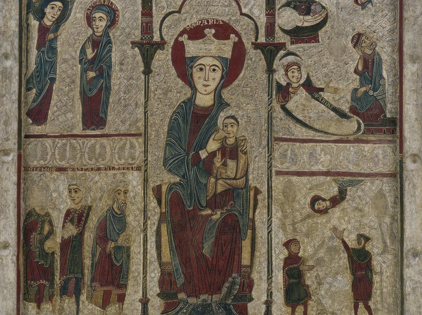Frontal d'altar de Rigatell procedent del santuari de la Mare de Déu de Rigatell (segle XIII). Museu Nacional d'Art de Catalunya  (Imagen M.A.S.)