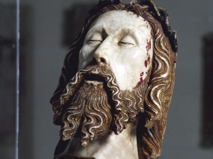 Cabeza de Cristo (siglo XIV), atribuida a Jaume Cascalls, procedente de la capilla del Corpus Christi del convento de San Agustín Viejo de Barcelona. Museu Nacional d'Art de Catalunya.  (Imagen M.A.S.)