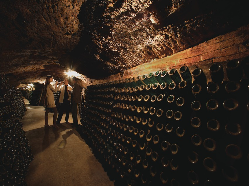 Cata de vino en la bodega Sant Josep de las Caves Codorniu.
