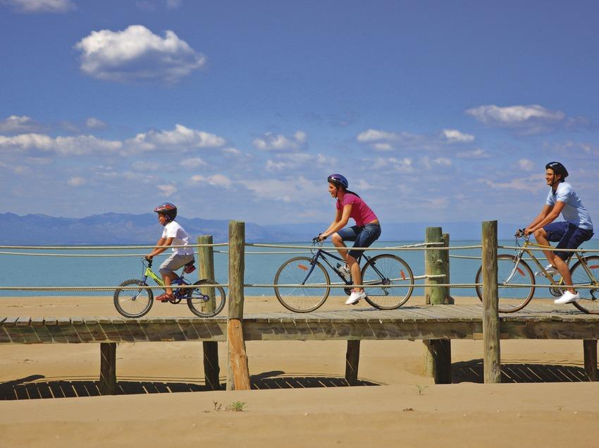 Ciclistes sobre les passarel·les del Parc Natural del Delta de l'Ebre