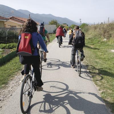 Activitats grup B. Ruta del Ferro, excursió amb bicicleta de muntanya. Workshop Pirineus 2008  (Cablepress)