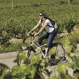 Ciclista durant una visita a les vinyes de les caves Castellroig