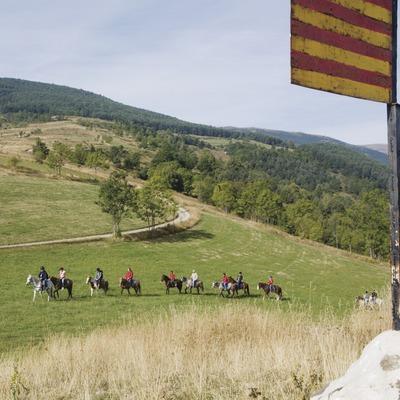 Actividades grupo B. Visita a la hípica Mas Batlló. Excursión a caballo. Workshop Pirineus 2008  (Cablepress)