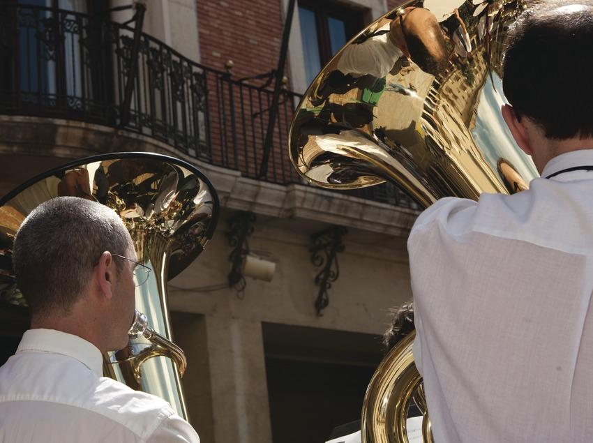 International Music Festival Ebre Terra de Vent. Tortosa, Ayuntamiento, señera, detalle músicos (Banda Municipal de Tortosa) (Marc Castellet Puig)
