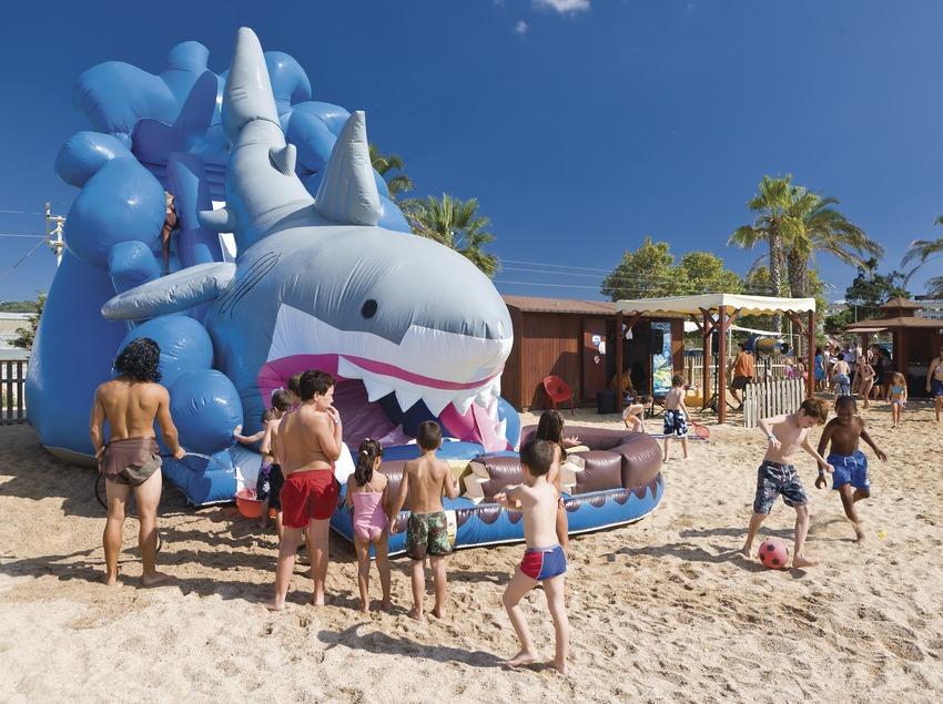 Inflatable dinghy at the Mini Beach Club on the beach at Santa Susanna