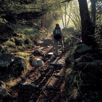 Excursionista en un sender de gran recorregut, a prop d'Andorra.  (Oriol Alamany)