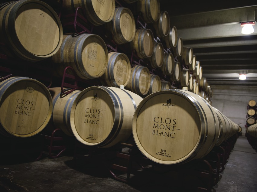 Clos Montblanc, barriques amb logotip al celler.