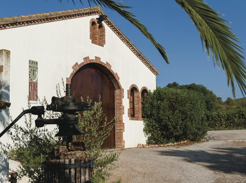 Masia Pere Rius, façana de la cava amb logotip, premsa antiga al davant i vinyes de fons. (Marc Castellet)