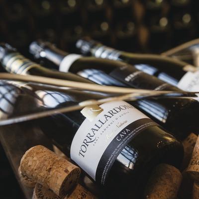Caves Torrallardona, detalle de botellas y tapones de corcho dentro la cubitera.