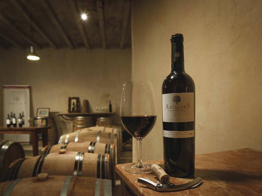 Noguerals, botella y copa de vino en la sala de degustación y sala de barricas.