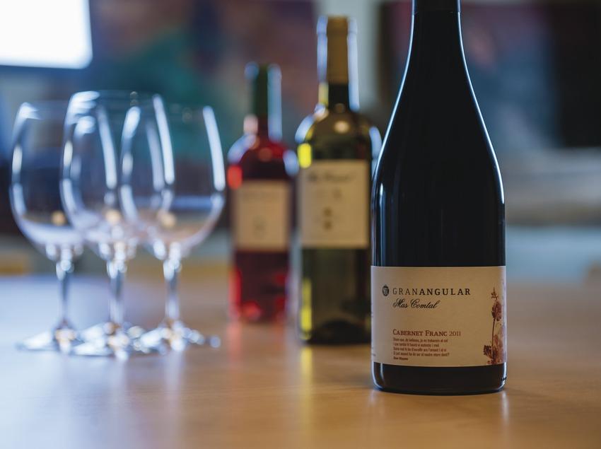 Mas Comptal, botellas y copas de vino en la sala de degustación.