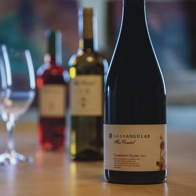 Mas Comptal, botellas y copas de vino en la sala de degustación. (Marc Castellet)