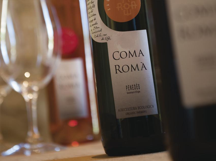 Coma Romà, detalle de botellas y copa de vino.