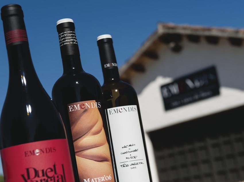 Emendis, botellas de vino con bodega de fondo. (Marc Castellet)