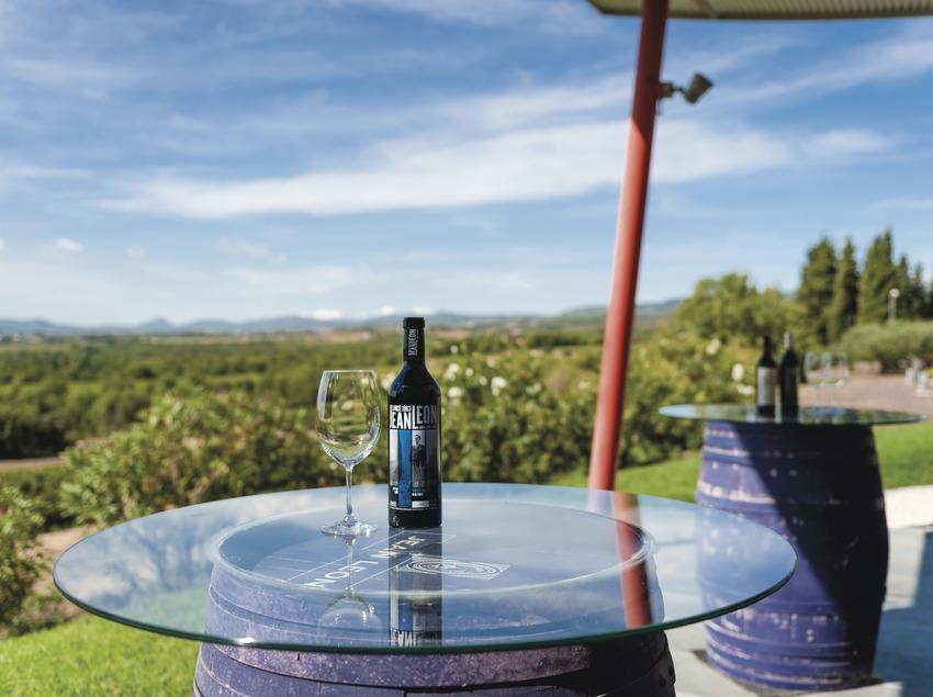 Jean Leon, ampolles dins l'espai de degustació amb vistes al paisatge. (Marc Castellet)