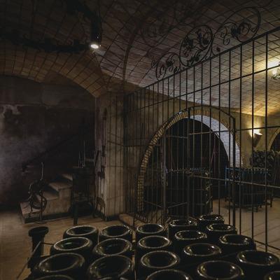 Can Descregut, entrada en la cava con botellas en primer plano. (Marc Castellet)