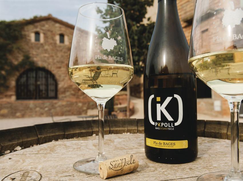 Mas de Sant Iscle, botella y copas de vino blanco delante de la bodega.