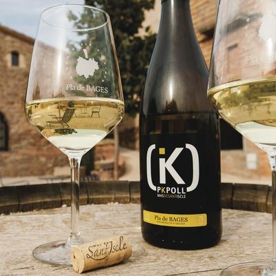 Mas de Sant Iscle, ampolla i copes de vi blanc davant del celler.
