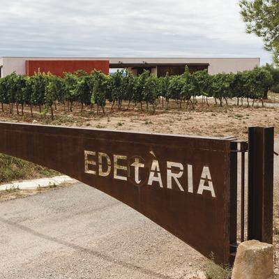 Edetaria, entrada de la finca amb vinyes i celler de fons. (Marc Castellet)