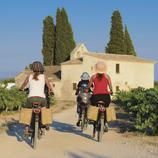 Ruta amb bicicleta per un camí entre vinyes.